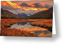 Fiery Bear River Sunset Greeting Card