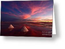 Fiery Clouds Over The Salar De Uyuni Greeting Card