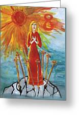 Fiery Eight Of Swords Illustrated Greeting Card