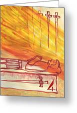 Fiery Four Of Swords Illustrated Greeting Card