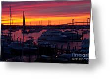 Fiery Harbor Greeting Card