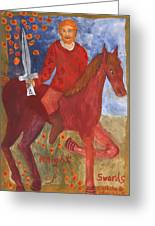 Fiery Knight Of Swords Greeting Card