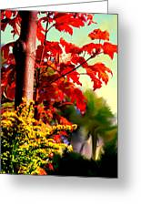 Fiery Red Autumn Greeting Card