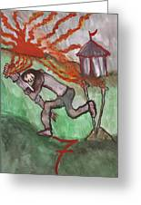 Fiery Seven Of Swords Illustrated Greeting Card