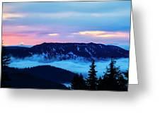 Fiery Sunrise From Mt. Hood Greeting Card