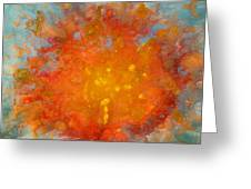 Fiery Sunset Abstract Painting Greeting Card by Julia Apostolova