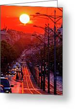 Fiery Sunset In Belgrade Belgradehenge Greeting Card
