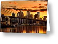 Fiery Sunset Over Manhattan  Greeting Card