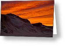 Fiery Sunset Over The Dunes Greeting Card
