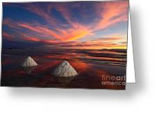 Fiery Sunset Over The Salar De Uyuni Greeting Card