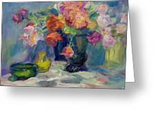 Fiesta Of Flowers - Vibrant Original Impressionist Oil Painting Greeting Card