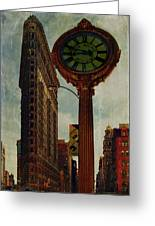 Fifth Avenue Clock And The Flatiron Building Greeting Card