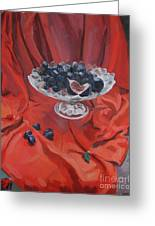 Figs And Grapes On Red  Greeting Card