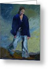 Figure In The Dark Jacket Greeting Card