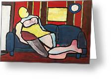 Figure On Couch Greeting Card