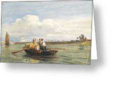 Figures In A Boat On The Thames, Gravesend Greeting Card