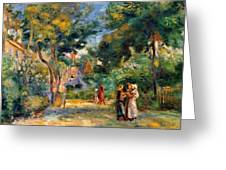 Figures In A Garden Greeting Card