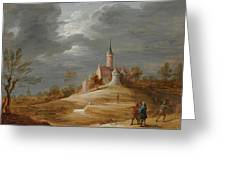 Figures In A Landscape With A Castle Beyond Greeting Card