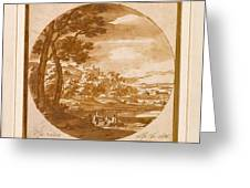 Figures In An Italianate  Greeting Card