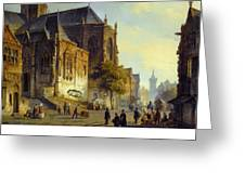 Figures On A Market Square In A Dutch Town 1843 Greeting Card