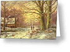 Figures On A Path Before A Village In Winter Greeting Card