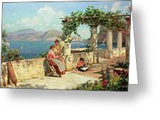 Figures On A Terrace In Capri Greeting Card
