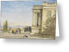 Figures On A Terrace With Greyhounds Greeting Card