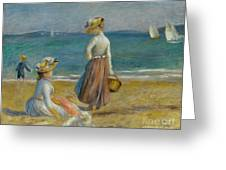 Figures On The Beach, 1890 Greeting Card
