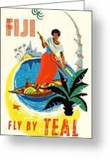 Fiji Fly By Teal Greeting Card