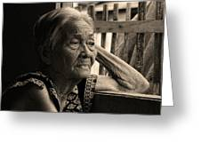 Filipino Lola Image Number 33 In Black And White Sepia Greeting Card