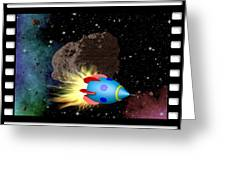 Film Frame With Asteroid And Rocket Greeting Card