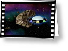 Film Frame With Asteroid And Ufo Greeting Card