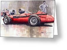 Final Check Before The Start Maserati 250 F 1957 Greeting Card