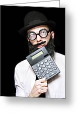Financial And Accounting Genius With Calculator Greeting Card