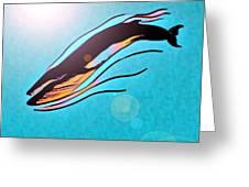 Finback Diving Through Krill Greeting Card