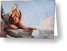 Fine Art Female Nude Jennie As Seanympth Goddess Multimedia Painting Greeting Card