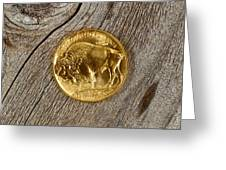 Fine Gold Buffalo Coin On Rustic Wooden Background Greeting Card