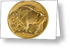 Fine Gold Buffalo Gold Coin On White Background  Greeting Card