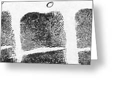 Fingerprints Of Vincenzo Peruggia, Mona Greeting Card
