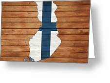 Finland Rustic Map On Wood Greeting Card