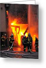 Fire - Burning House - Firefighters Greeting Card