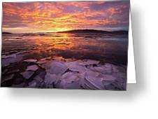 Fire And Ice Greeting Card by Wesley Aston