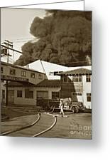 Fire At Cannery Row, Custom House Packing Company Sea Beach Cannery 1953 Greeting Card