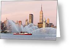 Fire Boat And Manhattan Skyline I Greeting Card