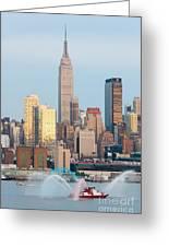 Fire Boat And Manhattan Skyline IIi  Greeting Card
