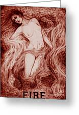 Fire Greeting Card by Debra A Hitchcock