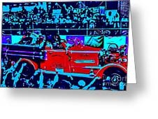 Fire Engine Red In Blue Greeting Card