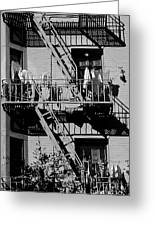 Fire Escape With Clothes Hung To Dry Greeting Card