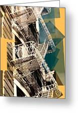 Fire Escapes In White And Gold Greeting Card