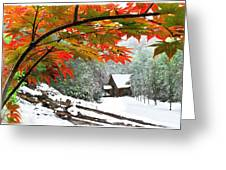 Fire Fog And Snowy Fence Greeting Card